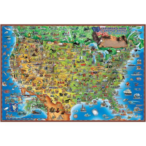 Dinos Childrens Illustrated 500 Piece Jigsaw Puzzle United States - Us-map-jigsaw-puzzle