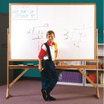 Free-Standing Reversible Board, Wood Frame Double Sided Markerboard, 3' x 4'