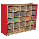 25-Tray Storage, 38H x 48W, With Translucent Trays, Strawberry Red™