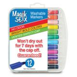 Magic Stix Washable Markers, 12-Pack
