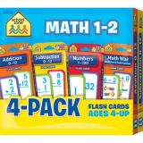 Math 1-2 Flash Cards 4-Pack
