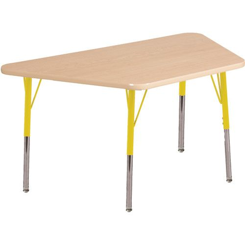 Adjustable Activity Table, Trapezoid, 30 X 60, Maple Top, Yellow Trim,  Yellow Legs, Standard Leg, Nylon Swivel Glides