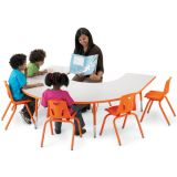 Berries® Adjustable Activity Table, Horseshoe, 66 x 60, Elementary (15 - 24), Prism Gray with Orange