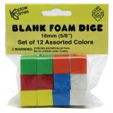 Assorted Color Blank 16mm Foam Dice, Pack of 12