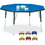 Berries® Adjustable Activity Table, Octagon, 48 x 48, Toddler (11 - 15), Classic Blue with Black