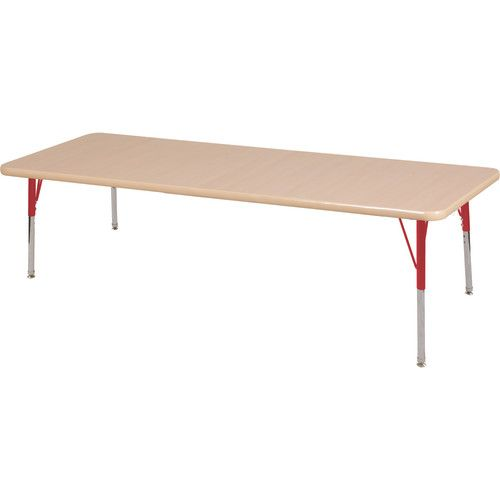 Adjustable Activity Table, Rectangle, 30 X 72, Maple Top, Maple Trim, Red  Legs, Standard Leg, Nylon Swivel Glides