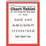 Polka Dot Border Chart Tablet, 24 x 32, 1 1/2 Ruled, Red