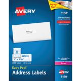 Avery® Easy Peel® White Address Labels, 1 x 2 5/8, 3000 count