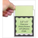 Clear View Self-Adhesive Library Pockets, 3 1/2