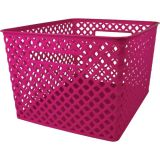Woven Basket, Large, Hot Pink