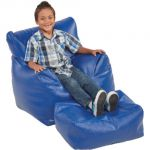 Bean Bag Chair & Ottoman Set, Blue