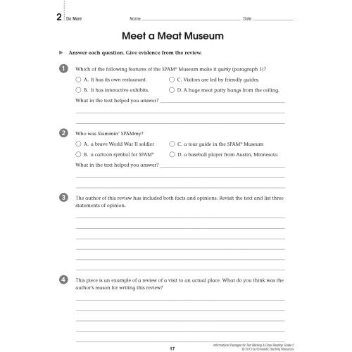 Informational Passages For Text Marking Close Reading Grade 5 Sc