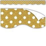 Clingy Thingies® Border, Gold Shimmer with White Polka Dots