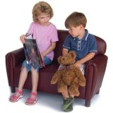 Just Like Home Preschool Sofa, Premium Vinyl Upholstery, Port Burgundy
