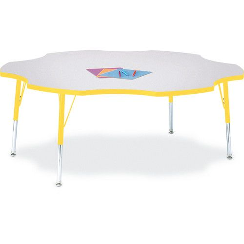 Berries® Adjustable Activity Table, Six Leaf, 60, Elementary (15   24),  Prism Gray With Yellow