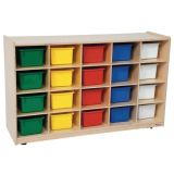 20-Tray Storage, 30H x 48W, With Color Trays, Natural