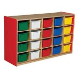 20-Tray Storage, 30H x 48W, With Color Trays, Strawberry Red™