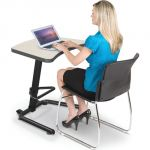 Up-Rite Student Height Adjustable Sit/Stand Desk, Gray Mesh Laminate, Black Edge Band