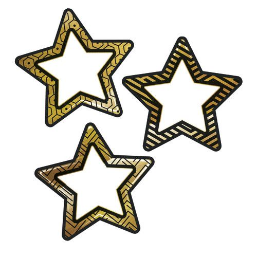 sparkle shine colorful cut outs black gold stars cd 120241