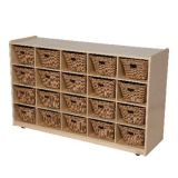 20-Tray Storage, 30H x 48W, With Wicker Baskets