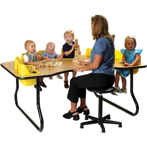 8 Seat Toddler Table, Light Oak Table Top