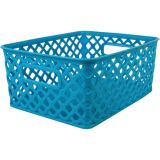 Woven Basket, Small, Turquoise