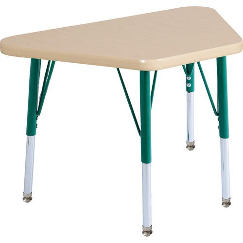 Adjustable Activity Table, 18 X 30 Trapezoid, Maple Top, Maple Trim, Green  Legs, Toddler Leg, Nylon Swivel Glides