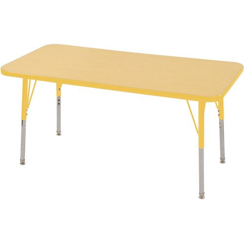 Adjustable Activity Table, Rectangle, 24 X 48, Maple Top, Yellow Trim,  Yellow Legs, Toddler Leg, Nylon Swivel Glides