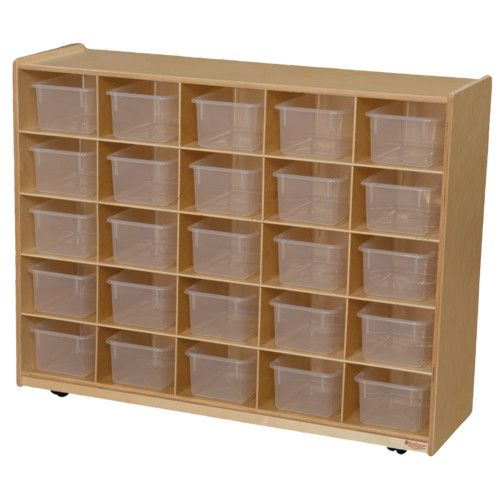 25 Tray Storage, 38H X 48W, With Translucent Trays, Natural