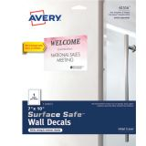 Avery® Surface Safe™ Wall Decals, Removable Adhesive, 7 x 10, Water & Chemical Resistant, 3 Labels