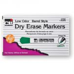Dry Erase Markers, Chisel Tip, Green, Pack of 12