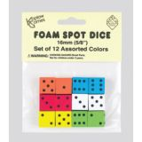 Assorted Color Spot 16mm Foam Dice, Pack of 12