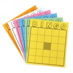 Blank Bingo Cards, Assorted Colors