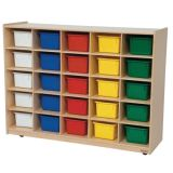25-Tray Storage, 38H x 48W, With Color Trays, Natural