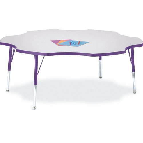 Berries® Adjustable Activity Table, Six Leaf, 60, Elementary (15   24),  Prism Gray With Purple