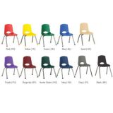 Stackable School Chairs w/Chrome Legs, 14 seat height, Navy, Ball Glides, Carton of 6