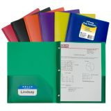C-Line® Two-Pocket Heavyweight Poly Portfolios, With Prongs, Assorted, Box of 36