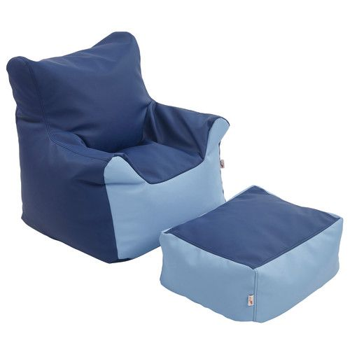 Bean Bag Chair U0026 Ottoman Set, Navy/Powder Blue